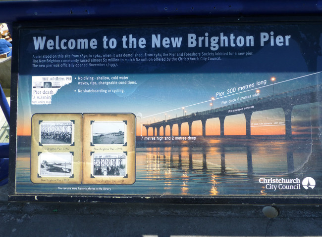 Christchurch, New Brighton Pier, Infotafel