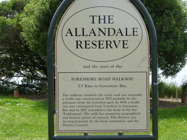 Governorsbay, Rastplatz Allandale, Infotafel