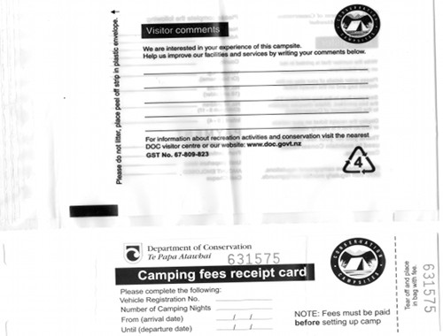 camping fees receipt card