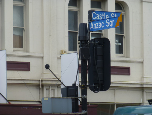 Dunedin, NZ, Straßenschild