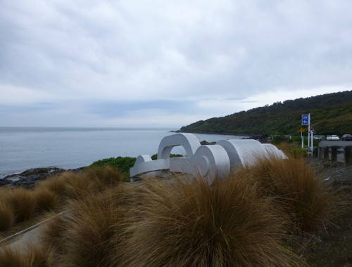Blick nach Stewart Island, am Stirling Point in Bluff