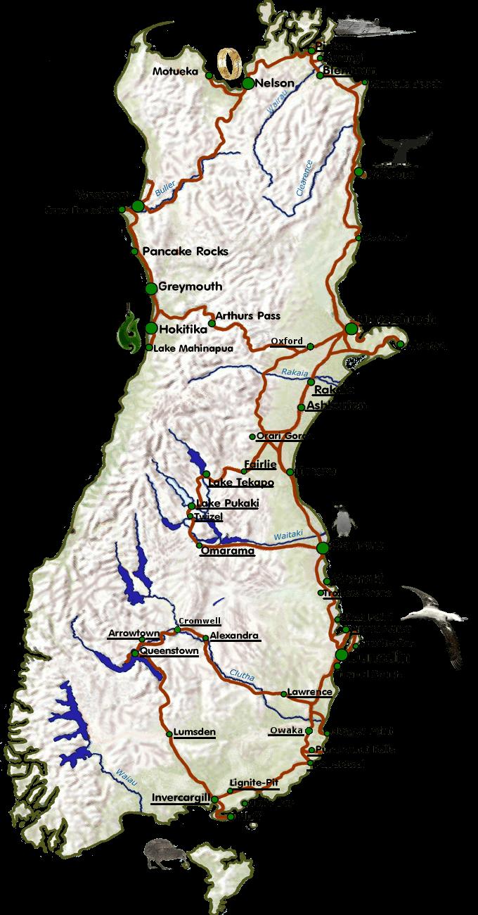 Die Route meiner Neuseelandreise