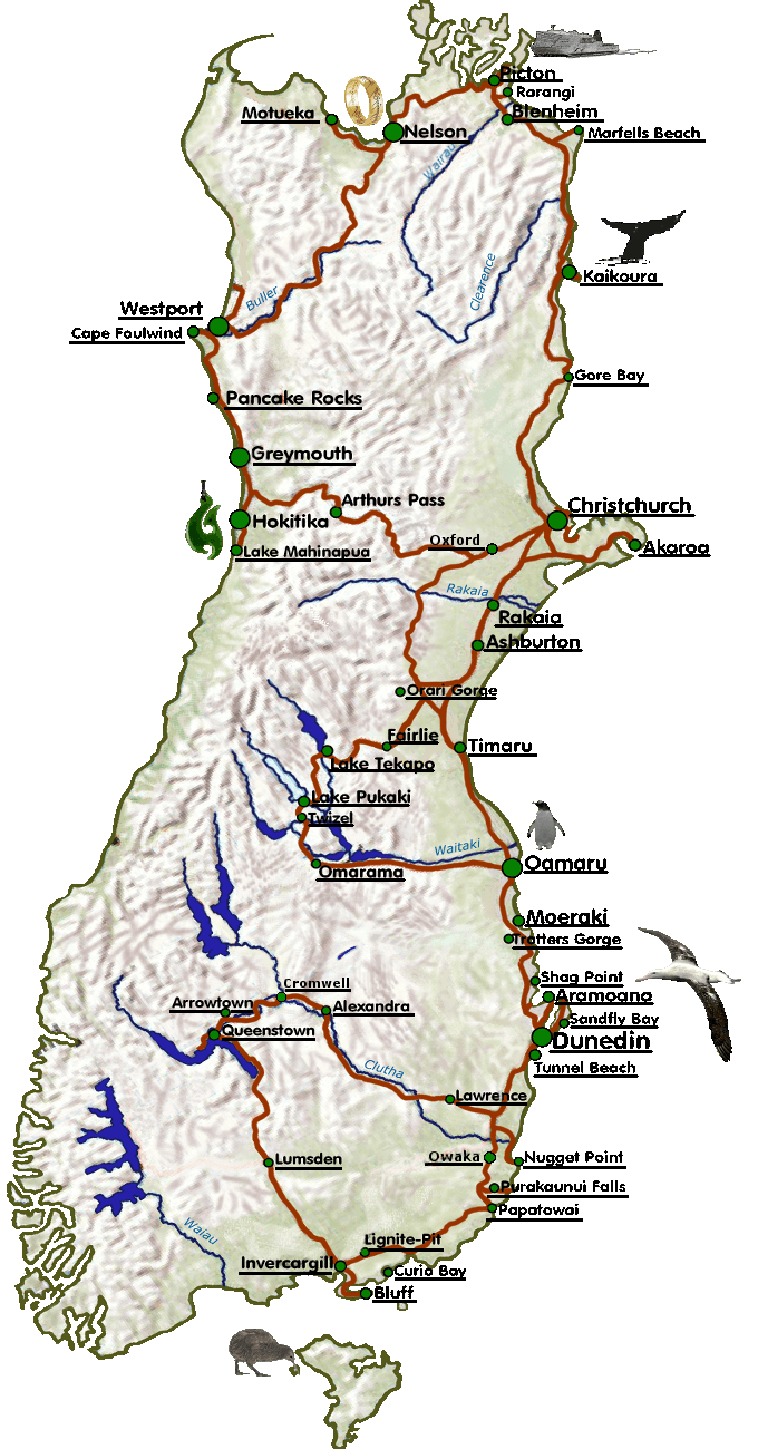 Route meiner Neuseelandreise