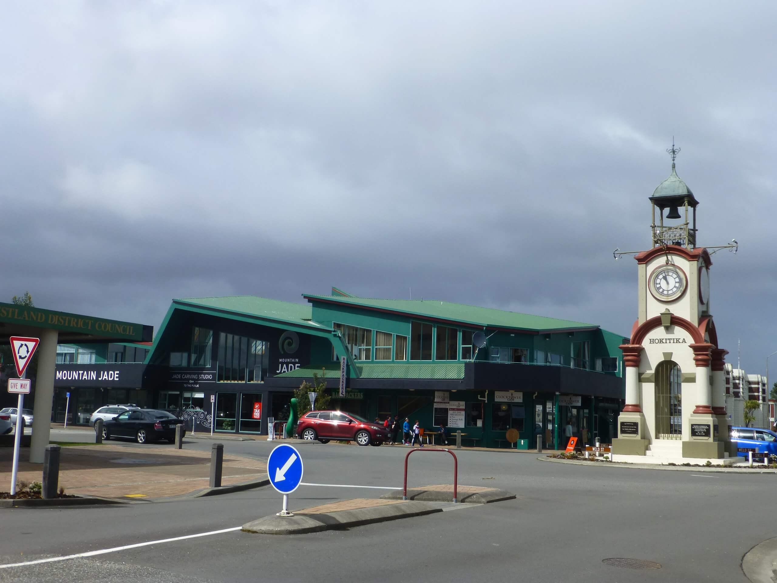 Hokitika, Zentrum, Uhr, Westküste, Neuseeland 2