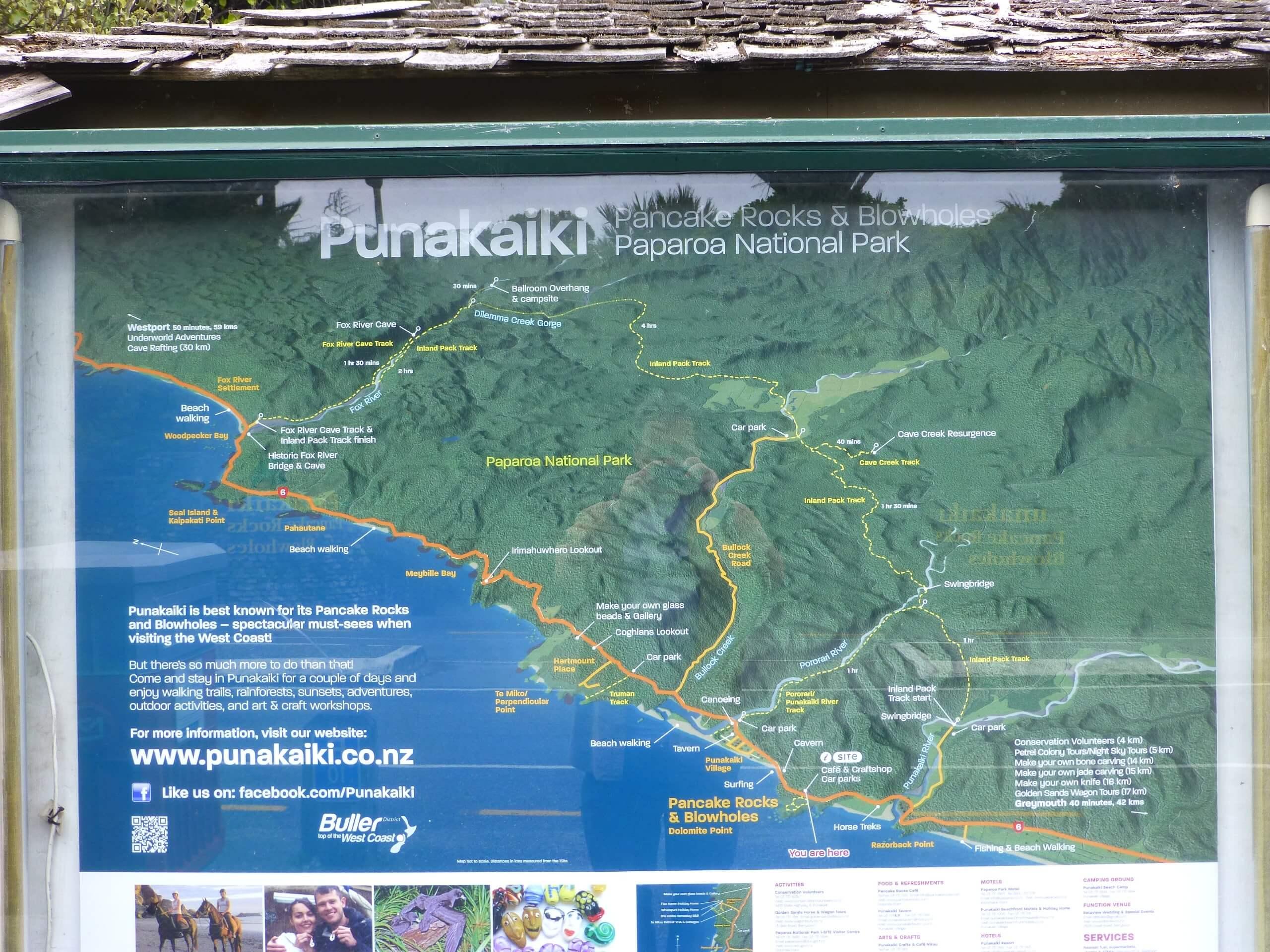 Pancake Rocks Wegeplan I-Site