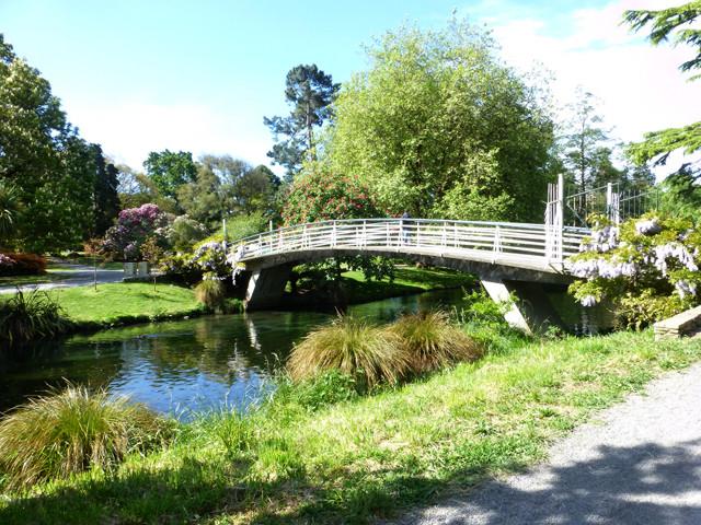 Brücke im botanischen Garten von Christchurch