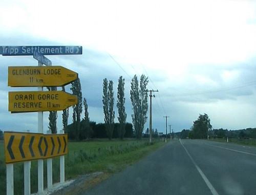 Wegweiser, Richtung Orari Gorge