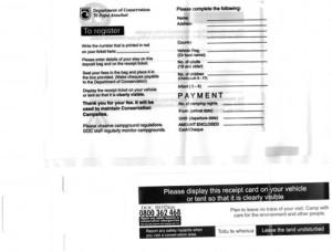 formular für DOC Campingplätze