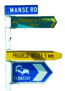 Wegweiser, Niagara Fälle Neuseeland