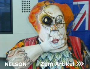 Nelson, NZ, skurille Figur in der I-Site