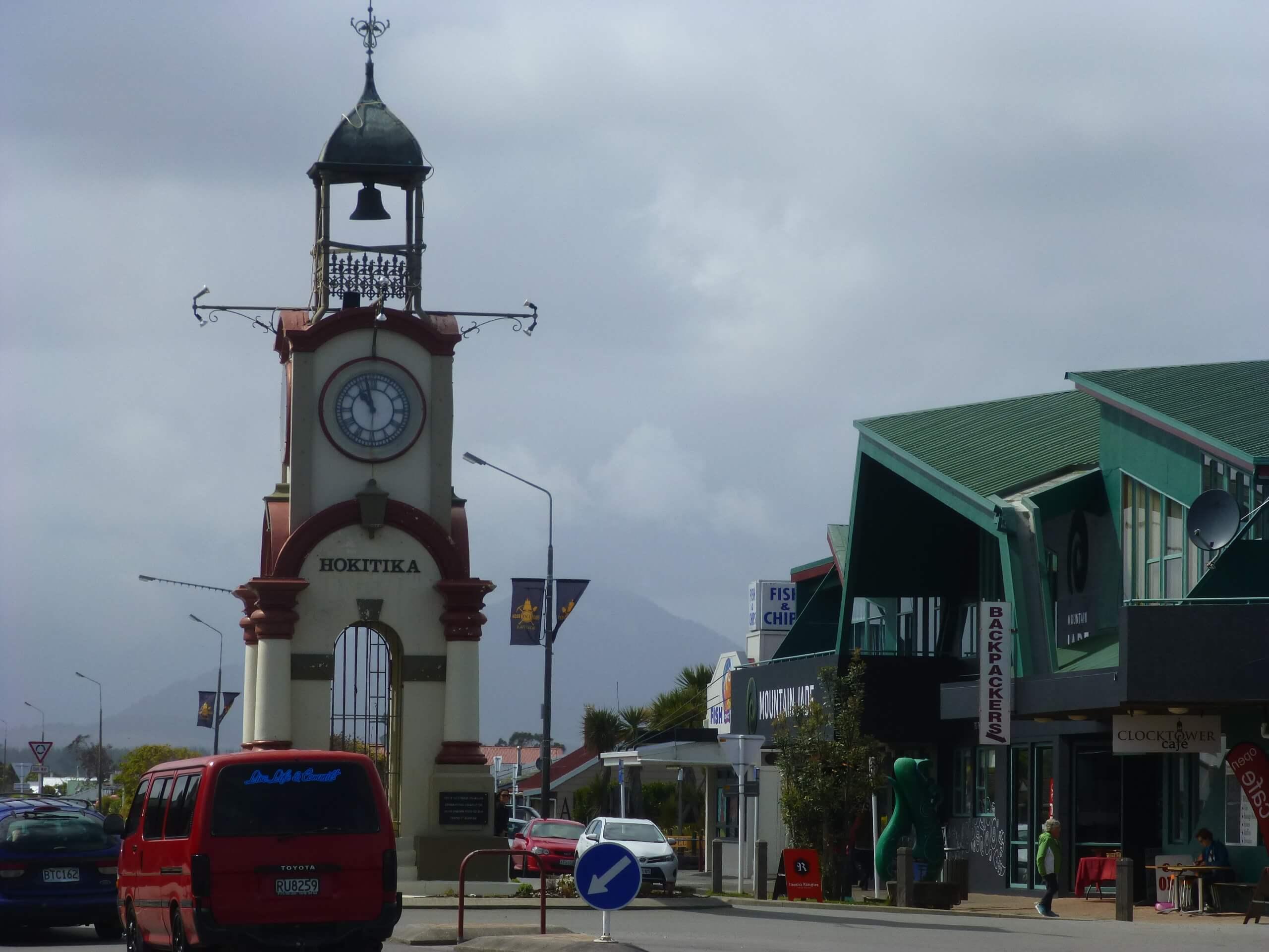 Hokitika, Zentrum, Uhr, Westküste, Neuseeland 1