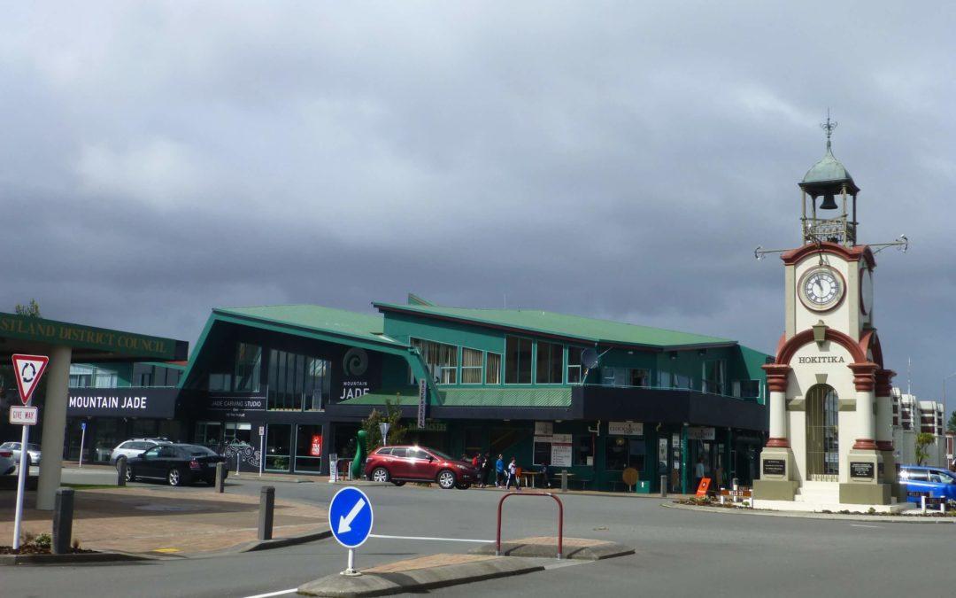 Uhr, im Zentrum von Hokitika an der Westküste Neuseeland 2
