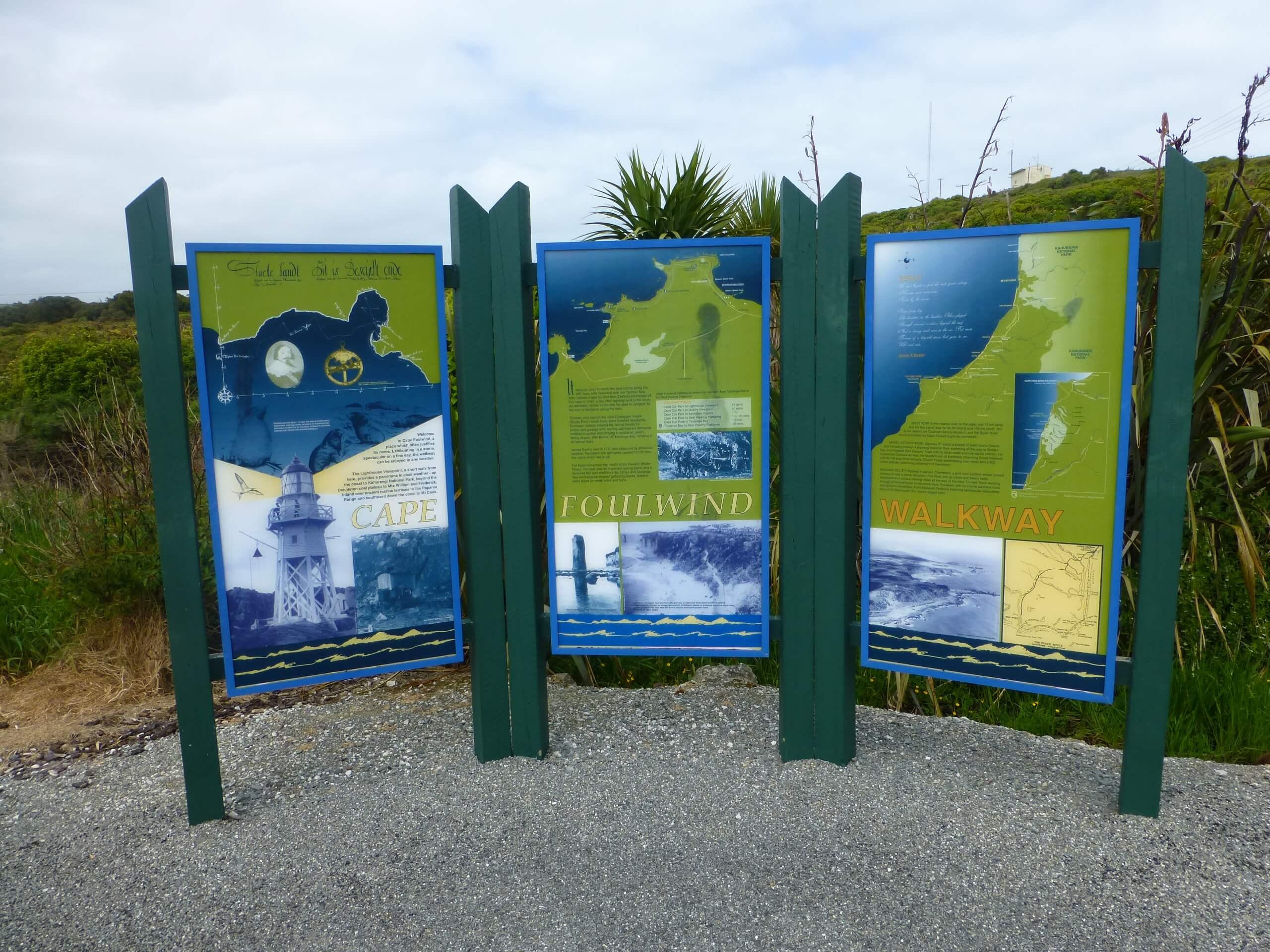 Infotafel am Cape Foulwind, NZ, Westküste